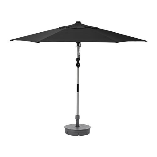BETSÖ/LINDÖJA - parasol with base, grey wood effect black/Grytö | IKEA Hong Kong and Macau - PE761977_S4