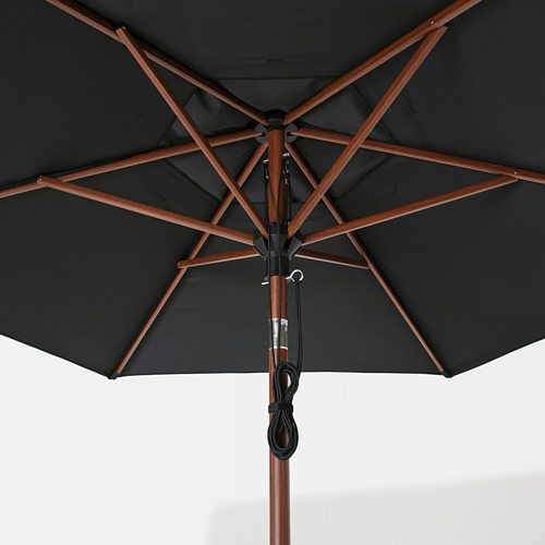 LINDÖJA/BETSÖ - parasol with base, brown wood effect black/Grytö | IKEA Hong Kong and Macau - PE762026_S4