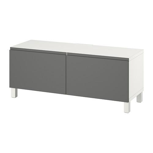 BESTÅ - TV bench with doors, white Västerviken/Stubbarp/grey   IKEA Hong Kong and Macau - PE816782_S4