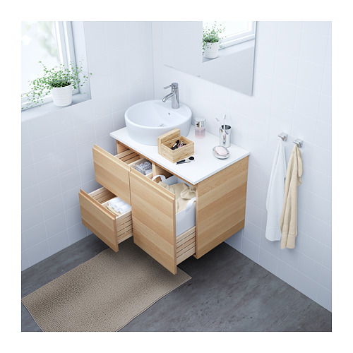 GODMORGON - wash-stand with 2 drawers, white stained oak effect | IKEA Hong Kong and Macau - PE623775_S4