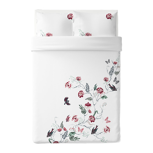 JÄTTELILJA - quilt cover and 2 pillowcases, white/floral patterned, 200x200/50x80 cm  | IKEA Hong Kong and Macau - PE674781_S4