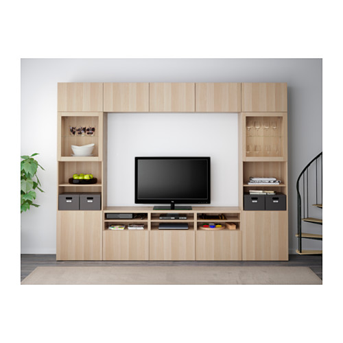BESTÅ - TV storage combination/glass doors, Lappviken/Sindvik white stained oak eff clear glass | IKEA Hong Kong and Macau - PE558050_S4