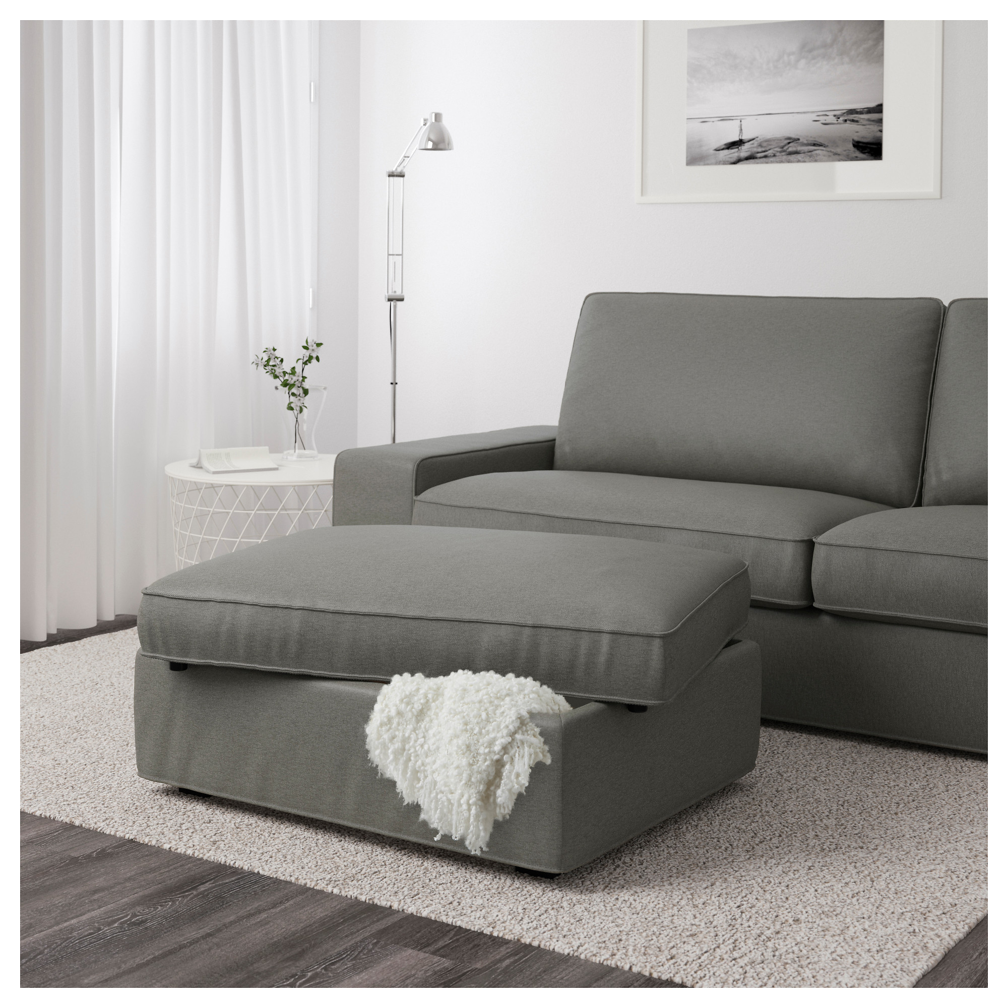 Admirable Kivik Footstool With Storage Borred Grey Green Ikea Pabps2019 Chair Design Images Pabps2019Com