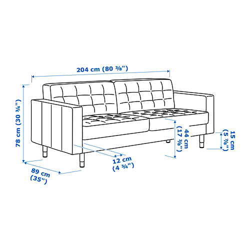 LANDSKRONA three-seat sofa
