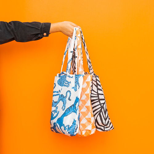 SKYNKE - 購物袋, 45x36 cm, 白色/橙色 | IKEA 香港及澳門 - PE817202_S4