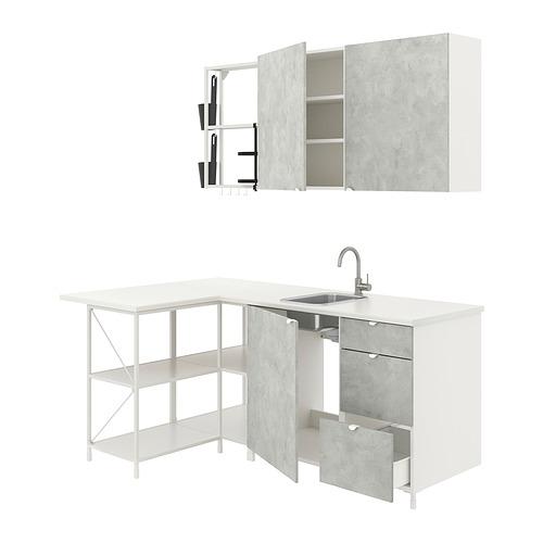 ENHET - 角位廚房, 白色/仿混凝土 | IKEA 香港及澳門 - PE817412_S4