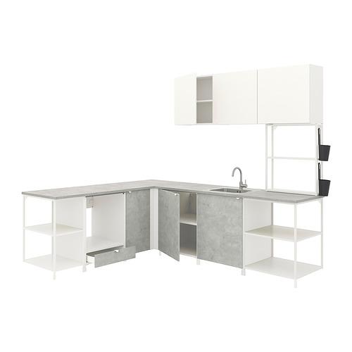 ENHET - 角位廚房, 白色/仿混凝土 白色   IKEA 香港及澳門 - PE817417_S4