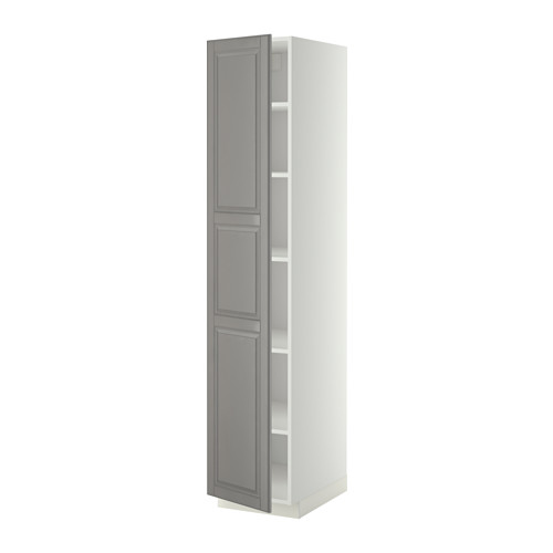 METOD - high cabinet with shelves, white/Bodbyn grey | IKEA Hong Kong and Macau - PE339009_S4