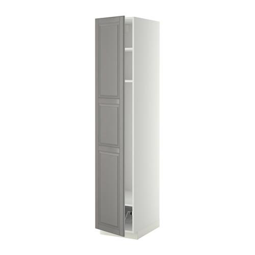 METOD - high cabinet w shelves/wire basket, white/Bodbyn grey | IKEA 香港及澳門 - PE339156_S4