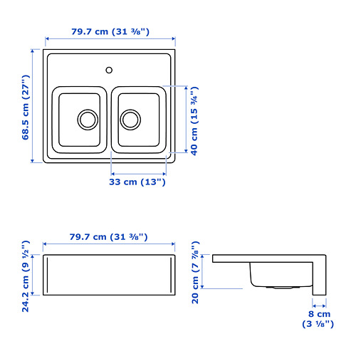 BREDSJÖN - 雙星盆, 不銹鋼   IKEA 香港及澳門 - PE722023_S4