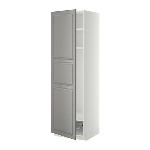 METOD - high cabinet w shelves/wire basket, white/Bodbyn grey | IKEA Hong Kong and Macau - PE339198_S4