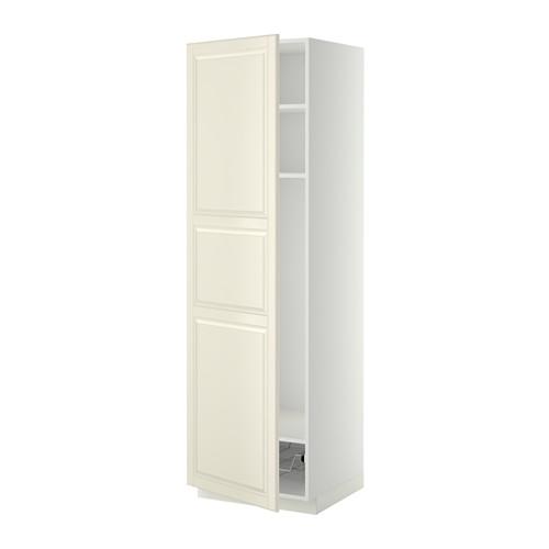 METOD - high cabinet w shelves/wire basket, white/Bodbyn off-white | IKEA 香港及澳門 - PE339199_S4