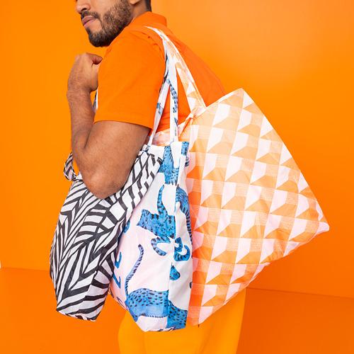 SKYNKE - 購物袋, 45x36 cm, 白色/橙色 | IKEA 香港及澳門 - PE817557_S4