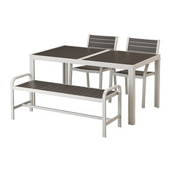 SJÄLLAND - table+2 chairs+ bench, outdoor, dark grey/light grey | IKEA Hong Kong and Macau - PE672755_S3