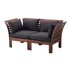 ÄPPLARÖ - 2-seat modular sofa, outdoor, brown stained/Hållö black | IKEA Hong Kong and Macau - PE340761_S3