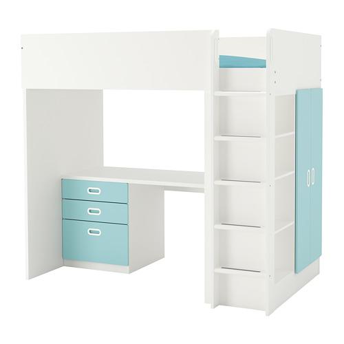 FRITIDS/STUVA 高架床連抽屜櫃門組合