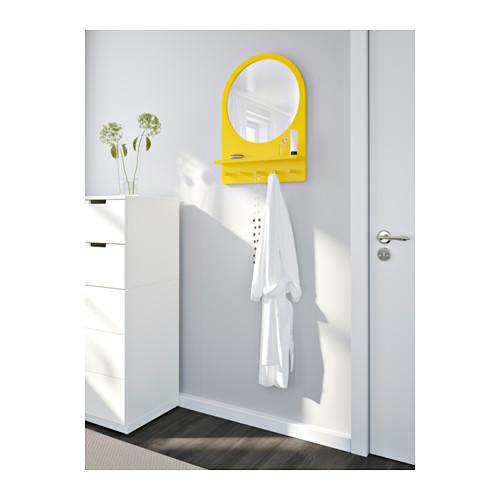 SALTRÖD mirror with shelf and hooks