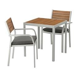 SJÄLLAND - table+2 chairs w armrests, outdoor, light brown/Frösön/Duvholmen dark grey | IKEA Hong Kong and Macau - PE672860_S3