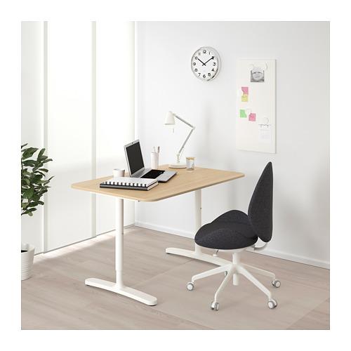 BEKANT - 書檯, 120x80cm, 染白橡木飾面/白色 | IKEA 香港及澳門 - PE722214_S4