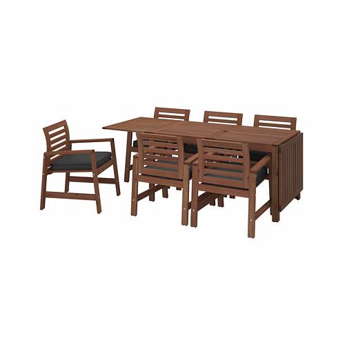 ÄPPLARÖ table+6 chairs w armrests, outdoor