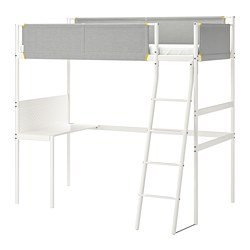 VITVAL - loft bed frame with desk top, white/light grey | IKEA Hong Kong and Macau - PE722337_S3