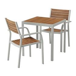 SJÄLLAND - table+2 chairs w armrests, outdoor, light brown/light grey | IKEA Hong Kong and Macau - PE672989_S3