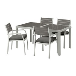 SJÄLLAND - table+4 chairs w armrests, outdoor, dark grey/Frösön/Duvholmen dark grey | IKEA Hong Kong and Macau - PE672991_S3