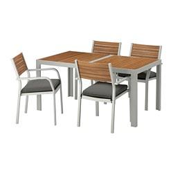 SJÄLLAND - table+4 chairs w armrests, outdoor, light brown/Frösön/Duvholmen dark grey | IKEA Hong Kong and Macau - PE672999_S3