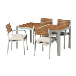 SJÄLLAND - table+4 chairs w armrests, outdoor, light brown/Frösön/Duvholmen beige | IKEA Hong Kong and Macau - PE673000_S3