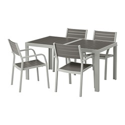 SJÄLLAND - table+4 chairs w armrests, outdoor, dark grey/light grey | IKEA Hong Kong and Macau - PE673006_S3