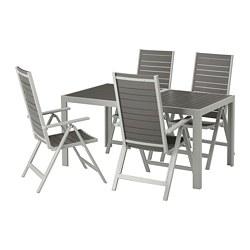 SJÄLLAND - table+4 reclining chairs, outdoor, dark grey/light grey | IKEA Hong Kong and Macau - PE673008_S3