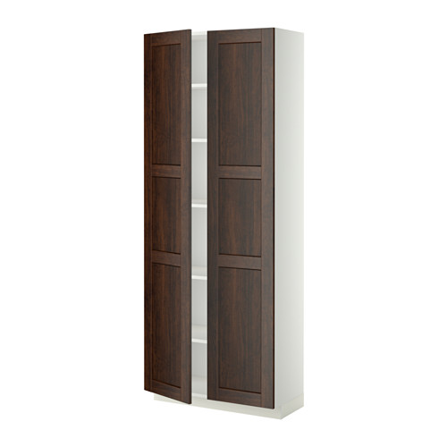 METOD - high cabinet with shelves, white/Edserum brown | IKEA Hong Kong and Macau - PE340226_S4