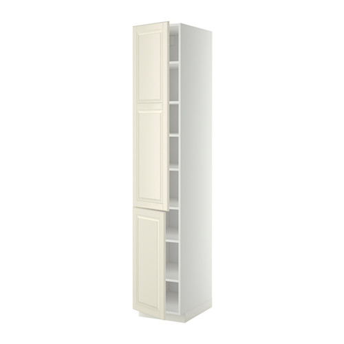 METOD - high cabinet with shelves/2 doors, white/Bodbyn off-white | IKEA 香港及澳門 - PE340263_S4
