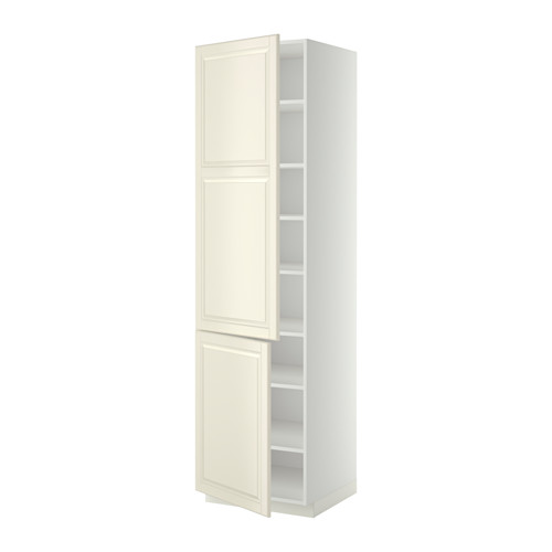 METOD - high cabinet with shelves/2 doors, white/Bodbyn off-white | IKEA 香港及澳門 - PE340301_S4