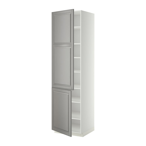 METOD - high cabinet with shelves/2 doors, white/Bodbyn grey | IKEA 香港及澳門 - PE340317_S4