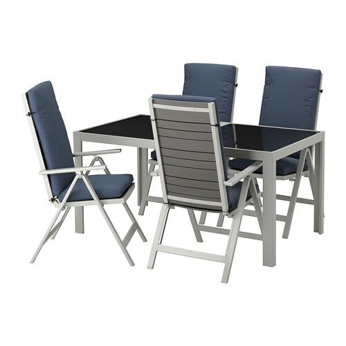 SJÄLLAND - table+4 reclining chairs, outdoor, glass/Frösön/Duvholmen blue | IKEA Hong Kong and Macau - PE673095_S4