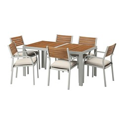 SJÄLLAND - table+6 chairs w armrests, outdoor, light brown/Frösön/Duvholmen beige | IKEA Hong Kong and Macau - PE673112_S3
