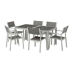 SJÄLLAND - table+6 chairs w armrests, outdoor, dark grey/light grey | IKEA Hong Kong and Macau - PE673116_S3