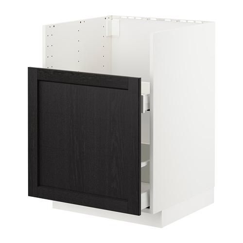 METOD/MAXIMERA - BREDSJÖN星盆用地櫃/1面板/2抽屜, white/Lerhyttan black stained   IKEA 香港及澳門 - PE722557_S4