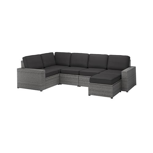 SOLLERÖN - modular corner sofa 4-seat, outdoor, with footstool dark grey/Järpön/Duvholmen anthracite | IKEA Hong Kong and Macau - PE763726_S4