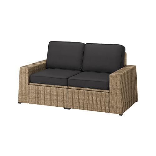SOLLERÖN - 2-seat modular sofa, outdoor, brown/Järpön/Duvholmen anthracite | IKEA Hong Kong and Macau - PE763737_S4