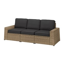 SOLLERÖN - 3-seat modular sofa, outdoor, brown/Järpön/Duvholmen anthracite | IKEA Hong Kong and Macau - PE763745_S3