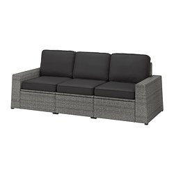 SOLLERÖN - 3-seat modular sofa, outdoor, dark grey/Järpön/Duvholmen anthracite | IKEA Hong Kong and Macau - PE763748_S3
