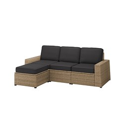 SOLLERÖN - 3-seat modular sofa, outdoor, with footstool brown/Järpön/Duvholmen anthracite | IKEA Hong Kong and Macau - PE763751_S3