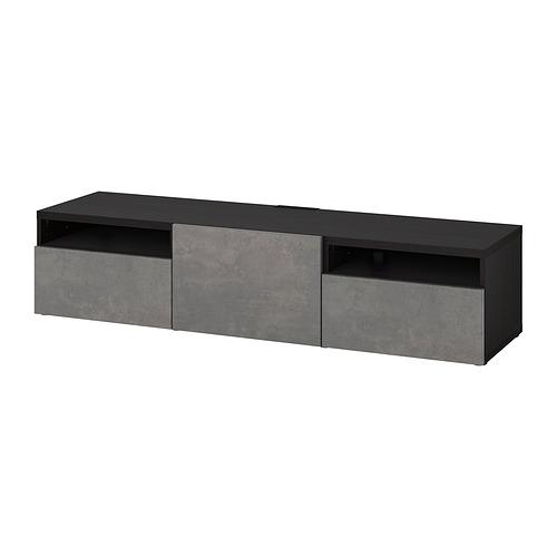 BESTÅ - 電視几連抽屜/門, black-brown/Kallviken dark grey | IKEA 香港及澳門 - PE818245_S4