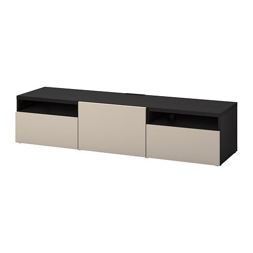 BESTÅ - 電視几連抽屜/門, black-brown/Lappviken light grey/beige | IKEA 香港及澳門 - PE818230_S4