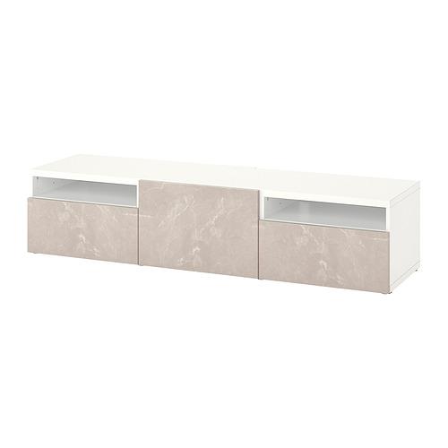 BESTÅ - 電視几連抽屜/門, white/Bergsviken beige | IKEA 香港及澳門 - PE818231_S4