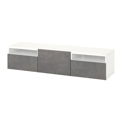 BESTÅ - 電視几連抽屜/門, white/Kallviken dark grey | IKEA 香港及澳門 - PE818232_S4