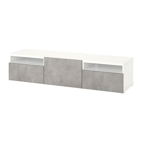 BESTÅ - TV bench with drawers and door, white/Kallviken light grey | IKEA Hong Kong and Macau - PE818248_S4