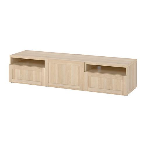BESTÅ - 電視几連抽屜/門, white stained oak effect/Hanviken white stained oak effect   IKEA 香港及澳門 - PE818234_S4